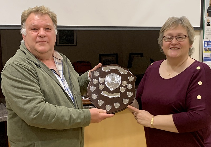 IOMPS President Jeremy Broome-Smith presented with the individual trophy by Andrea Thrussell, Chair of the Southern Photographic Society