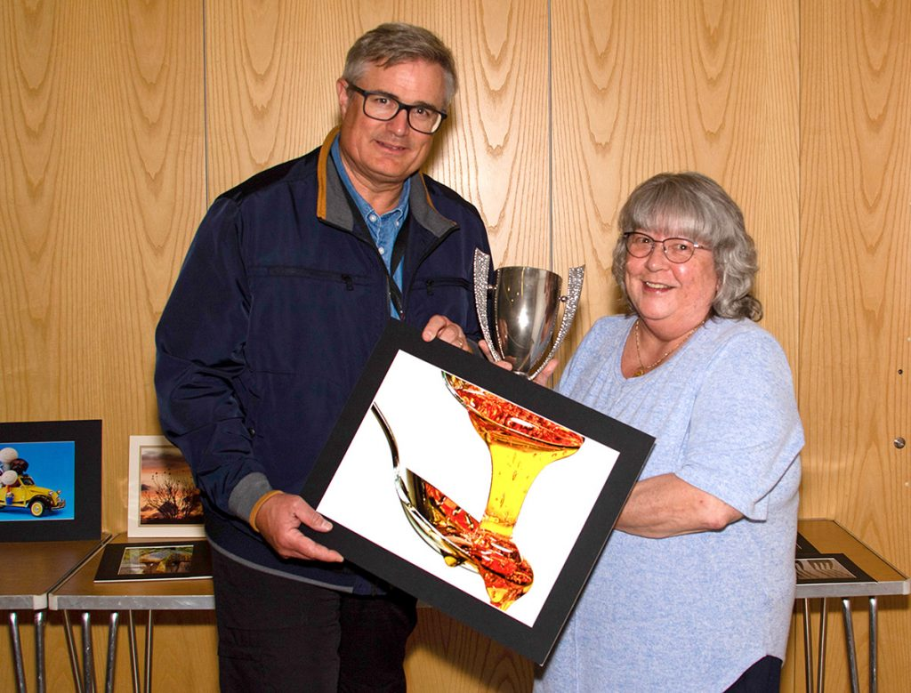 Print of the Year winner Sue Clegg with judge Andrew Barton