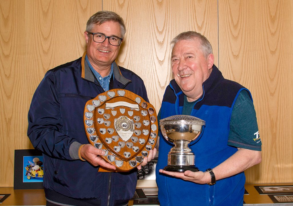 Image of the Year winner Paul Thomas with judge Andrew Barton and trophies